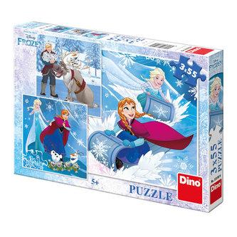 Ledové království - Zimní radovánkay - puzzle 3x55 dílků - The Walt Disney Company