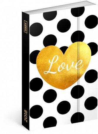 Diář 2018 - Love, týdenní magnetický, 10,5 x 15,8 cm - neuveden