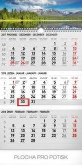 3měsíční krajina šedý 2018 - nástěnný kalendář