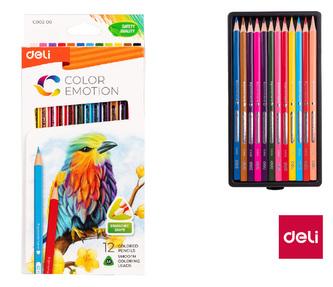 Pastelky DELI trojhranné 12 barev Color Emotion EC00200