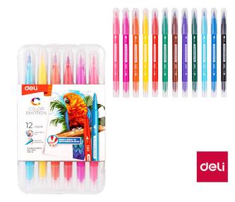 Fix oboustranný DELI štětečkový + liner 12 barev Color Emotion EC151-12