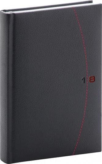 Diář 2018 - Tailor - denní, A5, černočervený, 15 x 21 cm - neuveden