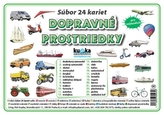 Súbor 24 kariet - dopravné prostriedky