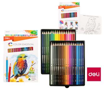 Pastelky DELI trojhranné 36 barev Color Emotion EC00230