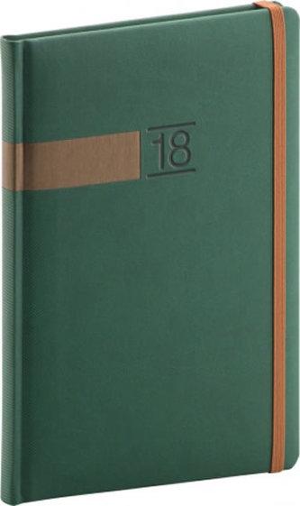 Diář 2018 - Twill - týdenní, A5, zelenobronzový, 15 x 21 cm - neuveden