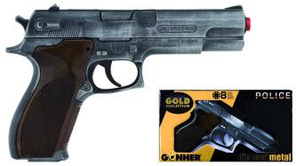 Policení pistole Gold colection stříbrná kovová 8 ran