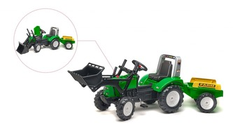 Traktor zelený Falk Lander Z240X s valníkem a přední lžící