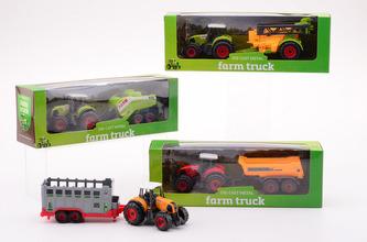 Traktor kovový s přívěsem