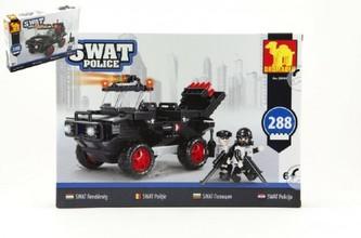 Stavebnice Dromader SWAT Policie Auto 288ks plast v krabici 35x25x5,5cm