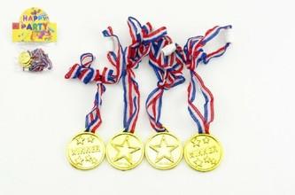Teddies - Medaile zlaté průměr 4cm 4ks plastse šňůrkou na krk v sáčku