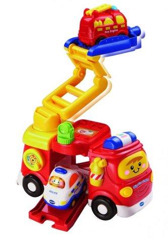 Tut Tut Velké hasičské auto+autíčko plast na baterie se zvukem se světlem v krabici 30x28x13cm Vtech
