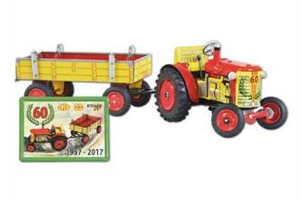 Traktor Zetor s valníkem na klíček kov 28cm Kovap v krabičce jubilejní 60