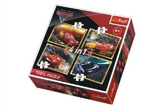 Trefl - Puzzle 4v1 Auta/Cars 3 Disney v krabici 28x28x6cm