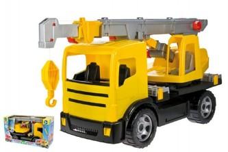 Lena - Autojeřáb plast 70cm 2-osý žlutý v krabici