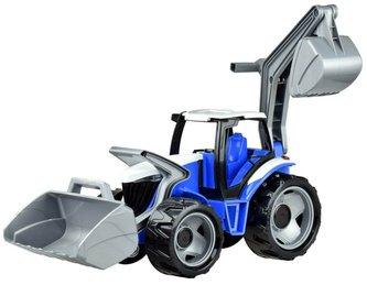 Lena - Traktor se lžící a bagrem plast modro-šedý 65cm v krabici od 3 let