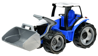 Lena - Traktor se lžící plast modro-šedý 65cm v krabici od 3 let