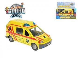 Auto ambulance kov 14cm na zpětné natažení na baterie 3xLR41 se zvukem se světlem v krabici