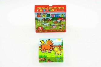 Teddies - Kostky kubus Moje první zvířátka dřevo 9x9x3cm 9ks v krabičce 11x11x6cm 12m+ MPZ