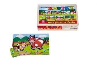 Kostky kubus Moje první zvířátka dřevo 15ks v dřevěné krabičce 20x13x5,2cm MPZ - Teddies