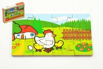 Teddies - Puzzle dřevěné Moje první zvířátka 4x12 dílků 20x14x3,5cm v dřevěné krabičce 24m+ MPZ