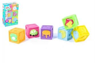 Dětské pískací kostky gumové 6ks v krabici 16x23x6cm 6m+ - Teddies