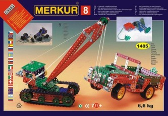 Merkur Toys - Stavebnice MERKUR 8 130 modelů 1405ks 5 vrstev v krabici 54x36,5x8,5cm
