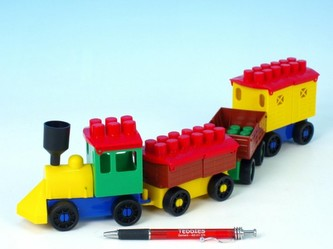 Stavebnice LORI 6 vlak+ 3 vagónky plast v sáčku 9x29x5cm