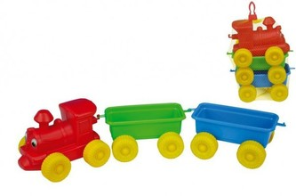 Teddies - Vlak + 2 vagóny plast 60cm v síťce