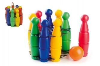 Teddies - Kuželky plast 23cm 9ks v síťce 18m+