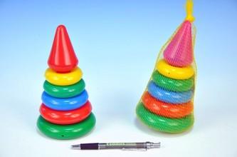 Teddies - Skládanka pyramida s kroužky malá plast 18cm v síťce 12m+