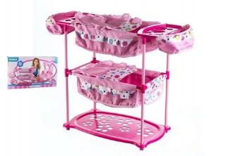 Sada pro panenky dvojčata kočárek 60(v)x30(š)x43(h)+ postýlka + židlička plast/kov Hauck v krabici