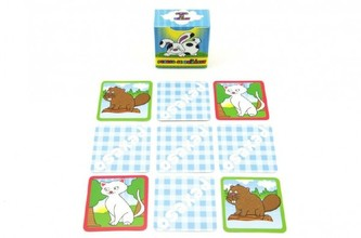 Pexeso se zvířátky společenská hra 80 kartiček v krabičce 6x6cm