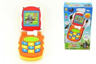Krtkův mobil telefon měnící obrázky Krtek plast se světlem a se zvukem v krabičce 12x21x5cm 6m+ - Teddies