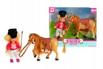 Panenka 12cm s koněm 12cm plast v krabici