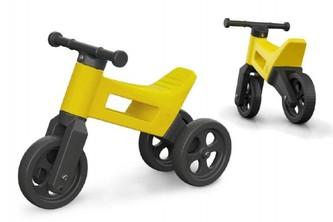 Odrážedlo FUNNY WHEELS 2v1 žluté výška sedadla nastavitelná 27/30cm nosnost 50kg 18m+