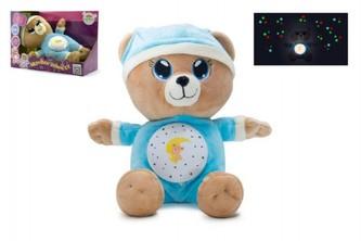 Teddies - Medvídek Usínáček modrý plyš 32cm na baterie se světlem a zvukem v boxu 12m+