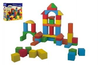 Kostky stavebnice dřevo 50 ks v krabici 20x19x8cm - Detoa