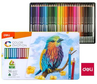 Pastelky DELI trojhranné 36 barev Color Emotion kovové pouzdro EC00235