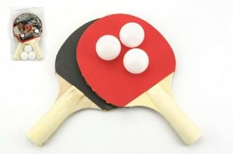 Sada stolní tenis 2 pálky + 3 míčky na kartě 18x29cm