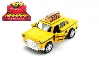 Auto taxi kov 11cm na zpětné natažení na baterie se světlem se zvukem