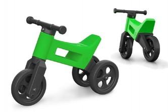 Odrážedlo FUNNY WHEELS 2v1 zelené výška sedadla nastavitelná 27/30cm nosnost 50kg 18m+