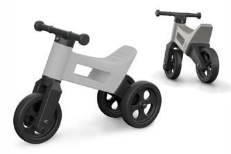 Odrážedlo FUNNY WHEELS 2v1 šedá metalíza výška sedadla nastavitelná 27/30cm nosnost 50kg 18m+