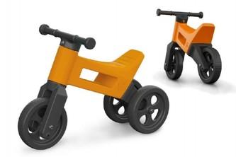 Odrážedlo FUNNY WHEELS 2v1 oranžové výška sedadla nastavitelná 27/30cm nosnost 50kg 18m+