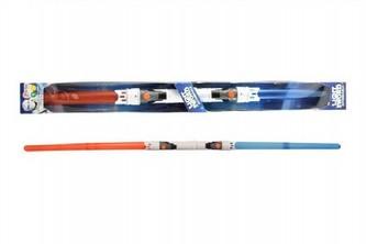 Svítící meč/tyč plast 89cm rozložitelný vysouvací se světlem se zvukem na baterie v krabici