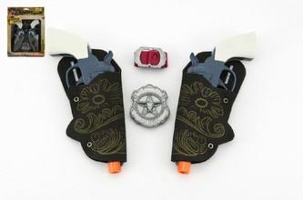 Teddies - Pistole s pouzdrem 2ks kovbojská sada plast 16cm 2ks s doplňky v krabici