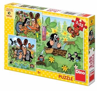 Krtek a zvířátka - Puzzle 3x55 - Miler Zdeněk