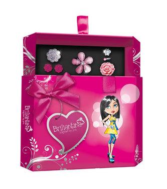 Šperkovnice Briliantina - Pink + 4 prstýnky, 1 pár náušnic - neuveden