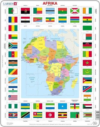 Puzzle MAXI - Mapa Afriky + vlajky/70 dílků - neuveden