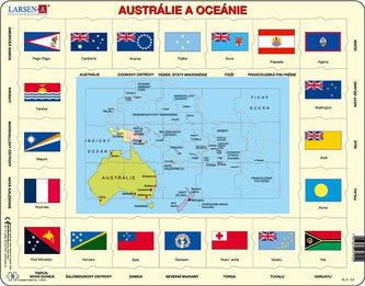 Puzzle MAXI - Mapa Austrálie a Oceánie + vlajky/35 dílků - neuveden