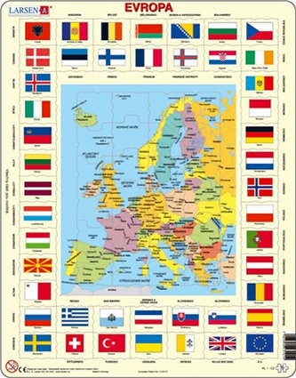 Puzzle MAXI - Mapa Evropy + vlajky/70 dílků - neuveden